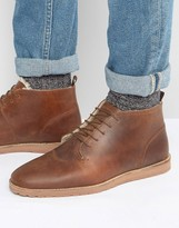 Asos Desert Boots In Tan Leather With Faux Shearling Lining