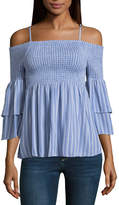 Almost Famous Elbow Sleeve Babydoll Top Juniors
