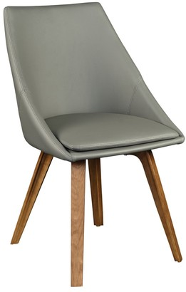 Euro Style Calla Grey Fabric and Walnut Wood Dining Chair