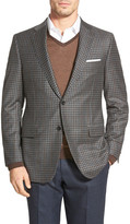 Hickey Freeman Beacon Gray Checked Two Button Notch Lapel Classic Fit Blazer