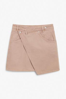 Monki Asymmetric denim mini skirt