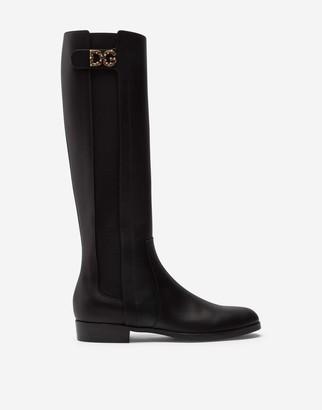 Dolce & Gabbana Calfskin Nappa Boots With Logo