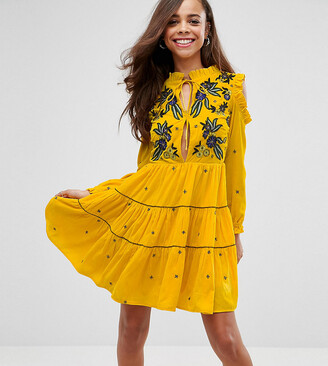Frock and Frill Cold Shoulder Velvet Smock Dress With Floral Embroidery-Yellow