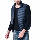 QIYUN.Z Men's Lightweight Down Jacket Packable Stand Collar Wind-Resistant Vests