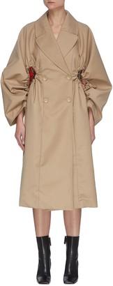 Maya Li Balloon shirring sleeve cut-out outseam trench coat