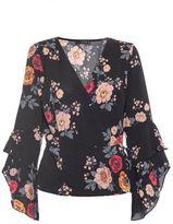 Quiz Black Floral Print Frill Sleeve Wrap Top