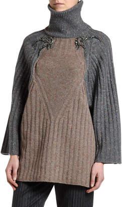 Antonio Marras Wide-Ribbed Beaded Shoulder Sweater