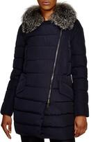 Moncler Metrodora Asymmetric Zip Fox Fur Trim Down Coat