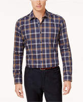 Ryan Seacrest Distinction Men's Navy and Camel Medallion Print Shirt