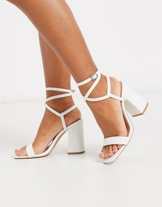 Public Desire Cindy block heeled sandal with ankle tie in white