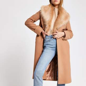 River Island Womens Beige faux fur collar longline coat