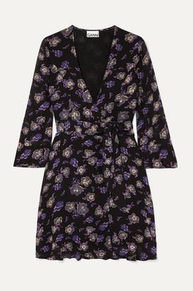 Ganni Floral-print Georgette Mini Wrap Dress - Black