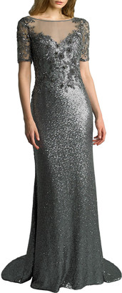 Basix II Sequined Boat-Neck Short-Sleeve Sheer-Yoke Column Gown