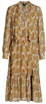 Paige Koralina Tie-Neck Floral Silk Midi Dress