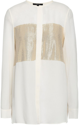 Derek Lam Metallic Fil Coupe Silk-blend Blouse