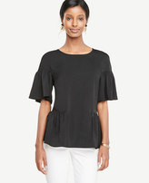 Ann Taylor Petite Ruffle Mixed Media Tee
