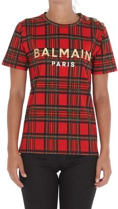 Balmain Tartan Print T-Shirt