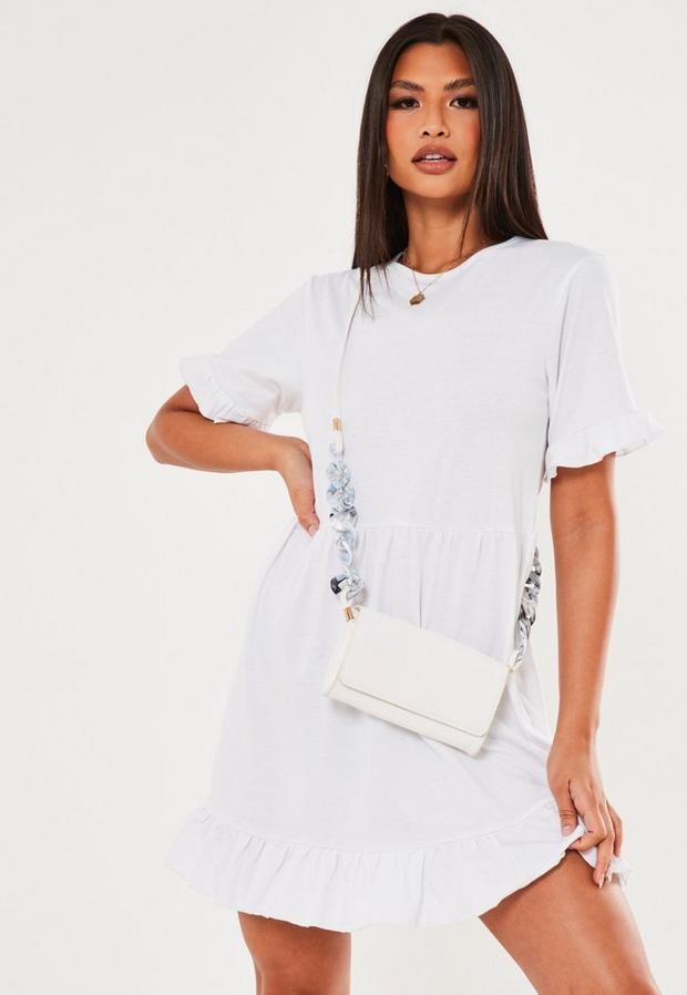 Missguided White Frill Short Sleeve Smock Dress