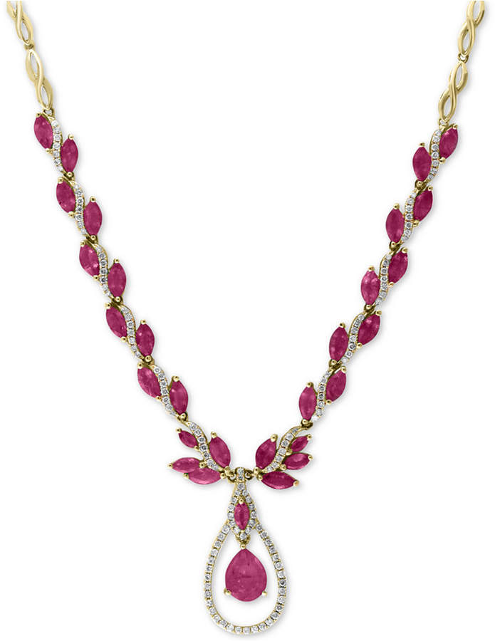 """Effy Certified Ruby (10-5/8 ct. t.w.) and Diamond (9/10 ct. t.w.) Fancy 18"""" Statement Necklace in 14k Gold"""