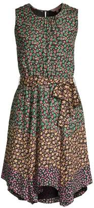 Rebecca Taylor Louisa Mix Floral Silk Dress