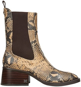 Sam Edelman Dasha Square-Toe Snakeskin-Embossed Leather Chelsea Boots