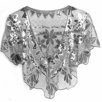 Muncaso 1920s Sequin Shawl Women's Shiny Beaded Art Deco Evening Cape Vintage Wedding Party Shawl Scarf