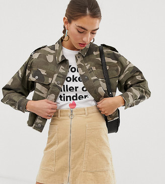 Stradivarius STR oversized crop jacket in cargo-Green