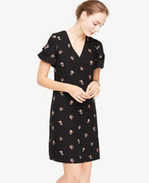 Ann Taylor Tossed Floral Double Ruffle Sleeve Shift Dress