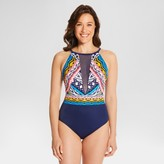 Dreamsuit by Miracle Brands Women's Slimming Control Aztec High Neck Mesh Insert One Piece Swimsuit - Navy - 12 - Dreamsuit® by Miracle Brands