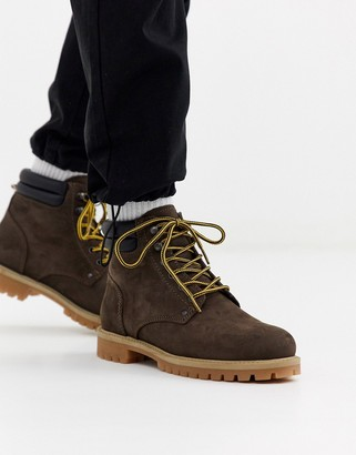 Jack and Jones nubuck leather boots in brown