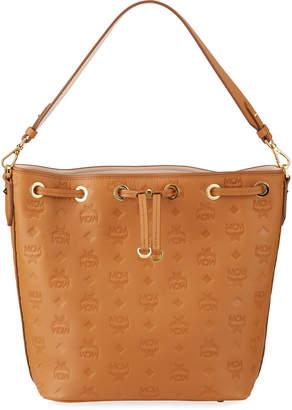 MCM Essential Monogrammed Leather Drawstring Bag