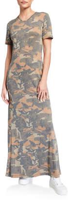 Melissa Masse Camo Short-Sleeve Maxi T-Shirt Dress
