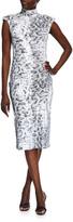 Black Halo Zabi Sequin Snake Print Mock-Neck Sheath Dress