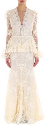 Alexander McQueen Lace Peplum Gown
