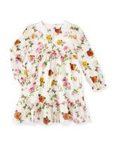 Gucci Long-Sleeve Floral & Bee Voile Dress, Ivory, Size 6-36 Months