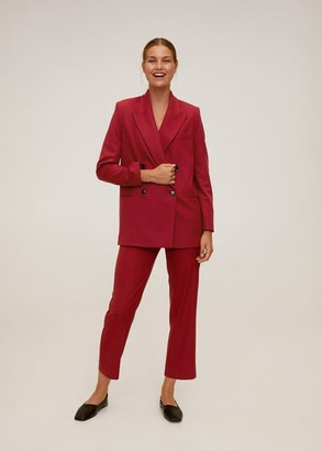 MANGO Double-breasted structured blazer maroon - XS - Women