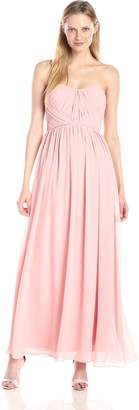Minuet Women's Strapless Maxi Gown with Criss Cross Rouching and Beaded Belt