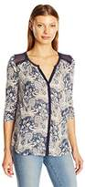 Lucky Brand Women's Plus Size Printed Woven Mix Top