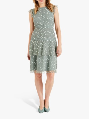 Phase Eight Bea Floral Embroidery Tiered Dress, Peppermint Green