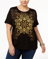 Disney Beauty and the Beast Trendy Plus Size Cotton Mandala Graphic T-Shirt