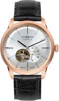 Zeppelin Flatline Automatic Open Heart Men's Rose Gold Watch Black Band 7362-4