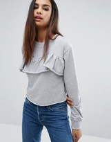 Missguided Frill Front Frayed Edge Sweat Top