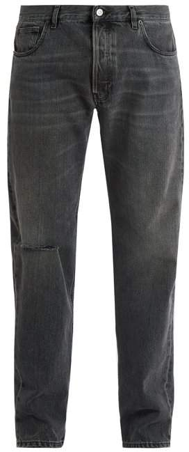 Balenciaga Archetypes Distressed Straight Leg Jeans - Mens - Grey