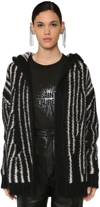 Saint Laurent Intarsia Mohair Blend Knit Cardigan
