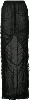 Vera Wang Ruched Sheer Silk Skirt