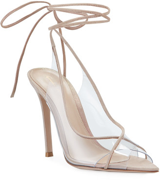 Gianvito Rossi Rosa Open-Toe Plexi Ankle-Tie Sandals