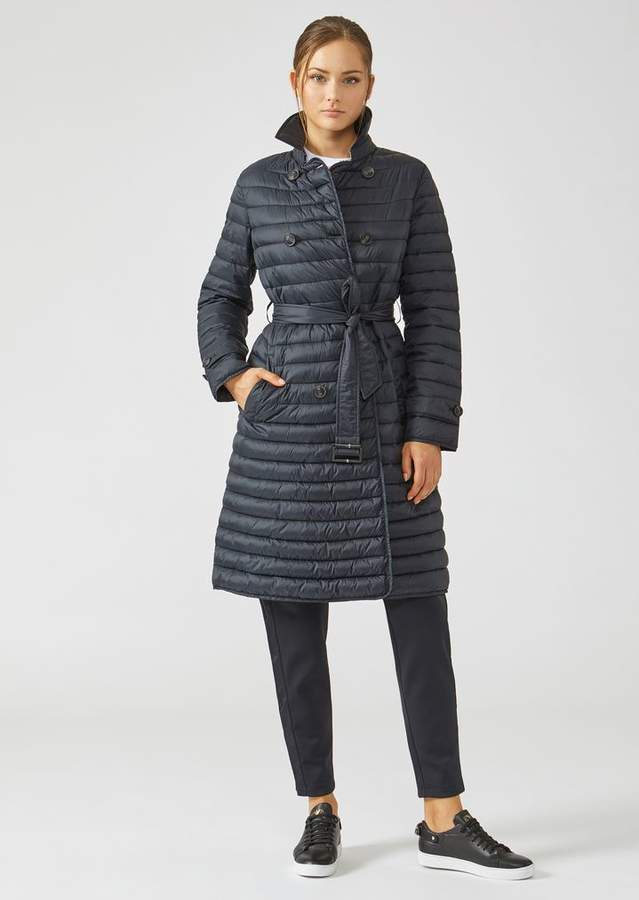 Emporio Armani Long Double-Breasted Padded Coat With Belted Waist