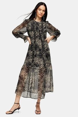 Topshop Womens Animal Pintuck Chuck On Midi Dress - Brown