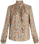 RED Valentino Floral-print ruffle-trimmed silk shirt
