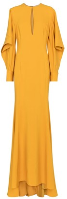 Oscar de la Renta Stretch-silk crepe gown